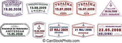 Passport Stamps - A collection of stylised vector Northern...