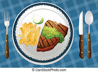 a food - illustration of food on a blue placemat