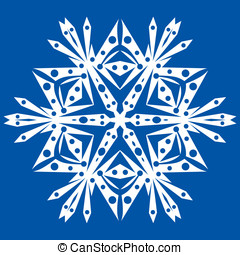White snowflake - One big white snowflake on a blue...