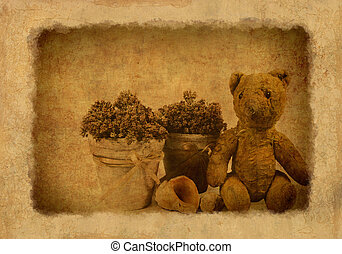 Grunge background with retro toy bear and flower pots