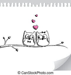 hand drawn owls - card with hand drawn owls on paper page