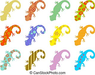 patterned lizards - artistic abstract wallpaper background...