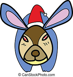 christmas cartoon hand-drawn rabbit