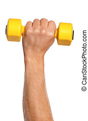 Hand with dumbbells