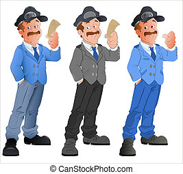 Policeman Vector Character - Creative Artistic Drawing Art...