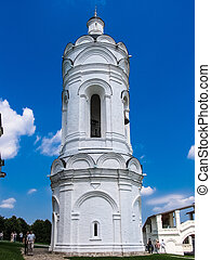 The Church of St. George with a bell tower on a hot sunny summer day. State Historical, Architectural and Natural Landscape Museum-Reserve Kolomenskoye.