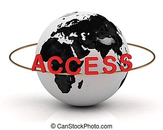 Access inscription in red letters around the earth