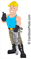 Cartoon Construction Worker - Creative Abstract Conceptual...