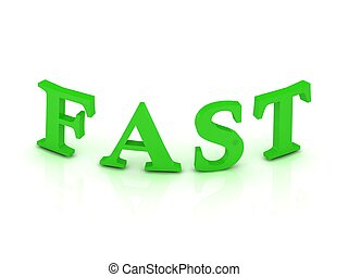 FAST sign with green letters on isolated white background