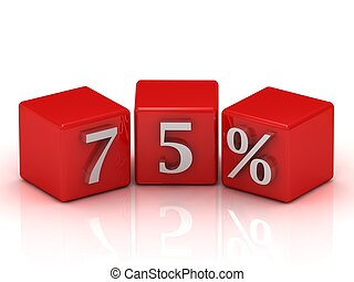 75 percent - red 3D blocks with white 75 percent on a white...