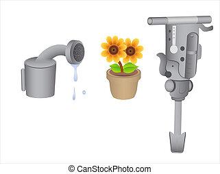 Gardening Tools Vectors - Conceptual Artistic Design of...