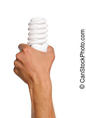 Man hand - Man holding an small two light bulbs isolated on...