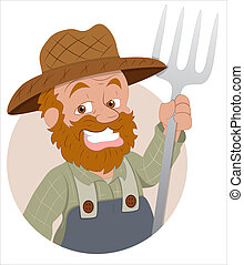 Cartoon Farmer Character - Creative Artistic Drawing Art of...