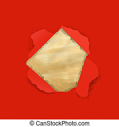 Red Torn With Old Paper With Gradient Mesh, Vector...