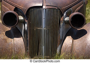 Road Rage - This is a picture of the grill of an old...