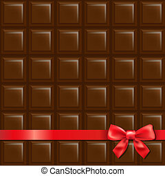 Chocolate Background With Red Bow With Gradient Mesh, Vector...