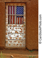 Flag Door - This is an Amercian flag on a door in Taos...