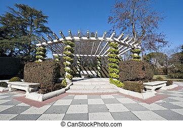 Pergola in Cecilio Rodriguez Gardens, Retiro Park, Madrid,...