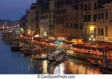 canal, noche, Venecia, magnífico