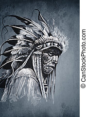 Native american indian head, chief, vintage style
