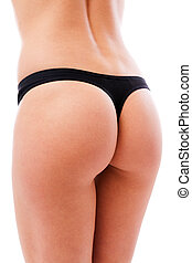 Sexy womans ass wearing black lingerie - Closeup of a sexy...