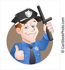 Cartoon Policeman - Creative Abstract Artistic Design of...