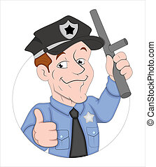Cartoon Policeman Character - Creative Abstract Conceptual...