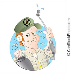 Cartoon Exterminator Man Vector - Creative Artistic Design...