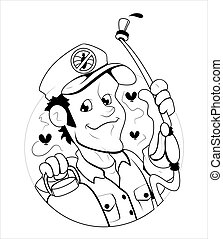 Cartoon Exterminator Man Vector - Artistic Creative...