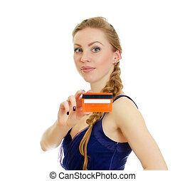 Woman with credit card. Isolated on white.