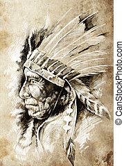 Sketch of tattoo art, native american indian head, chief,...