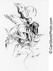 Sketch of tattoo art, fairy, fantasy illustration
