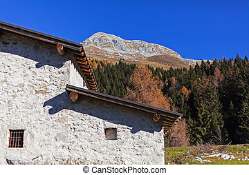 rural house in a mountain landscape