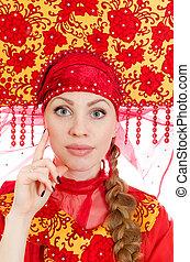 donna, russo, tradizionale, vestiti, isolato, bianco - canstock11651631