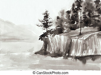 Rocks and lake - Watercolor original painting of landscape...