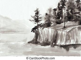 Rocks and lake - Watercolor original painting of landscape...