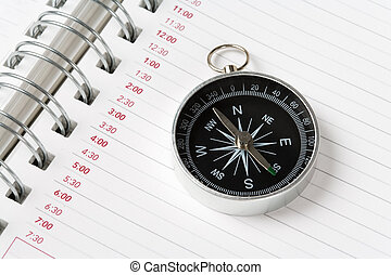 Calendar agenda and compass, concept of time Planning