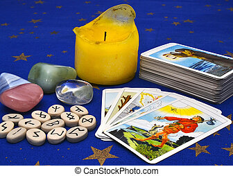 Items for divination - tarot cards, rune stones, healing...