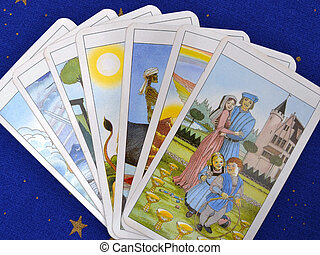 Tarot Cards - Pack of some tarot cards on blue background