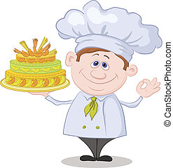 Cook with holiday cake - Cartoon cook - chef with sweet...