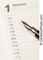 Calendar agenda, New year, schedule, close up shot for...
