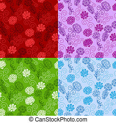 Seamless floral pattern - Set of four seamless floral...