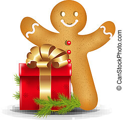 Gingerbread Man With Red Gift Box With Gradient Mesh, Vector...