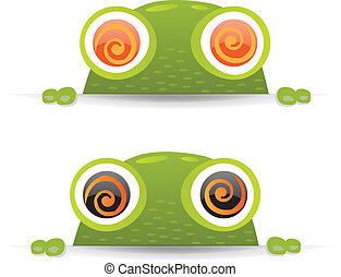 Hypno Frog Set - 2 Hypno Frogs With Gradient Mesh, Vector...