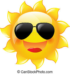Smiling Sun With Gradient Mesh, Vector Illustration