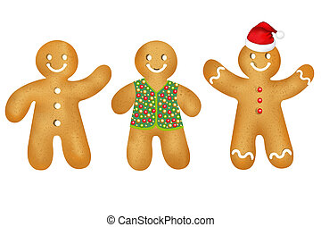 Gingerbread Mans Set - 3 Gingerbread Mans With Gradient...
