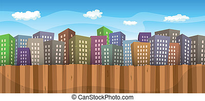 Summer Or Spring Cityscape Background - Illustration of a...