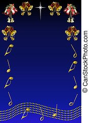 Christmas bells and muscial stave. - Christmas bells with...