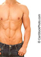 Muscular and tanned male torso.