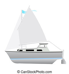 Sailing boat floating. Vector illustration.